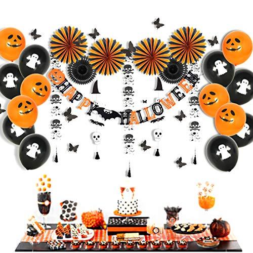 Easy Joy Decorazione Halloween Palloncino Kit Nero Arancione Fantasma Halloween Ghirlanda 3D Carta di Farfalle Decorazione Adesivi Murali + Happy Halloween Banner - 54 Pezzi