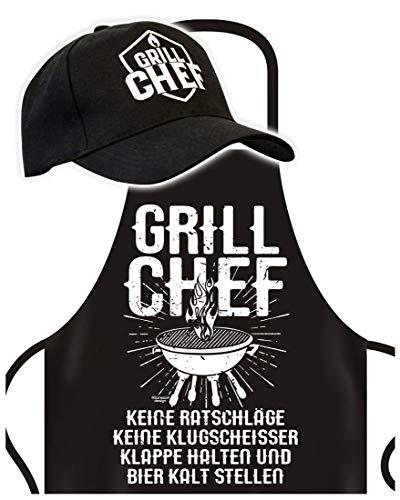 Schürze mit Cap - Grill Chef - Grillschürze mit Basket-Kappe - Lustiger Spruch - Grill Set für die nächste Gartenparty