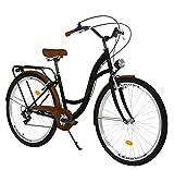 Milord Bikes Bicicleta de Confort, Negro-marrón, de 7 Velocidad y 28 Pulgadas con Soporte Trasero,...