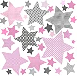 greenluup Öko Wandsticker Wandaufkleber Sterne mehrfarbig pink rosa grau Kinderzimme Deko MädchenzimmerBaby (Sterne Pink)