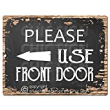 Please Use Front Door Left Arrow Chic Sign Rustic Vintage Chalkboard Style Retro Kitchen Bar Pub Coffee Shop Wall Decor 9'x12' Metal Plate Sign Home Store Decor Plaques
