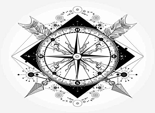 Qoalips Compass Diamond Painting Kits, Crossed Arrows Tattoo Art Symbol Diamond Painting with Tools for Home Wall Decor Full Drill 20x24 Inch