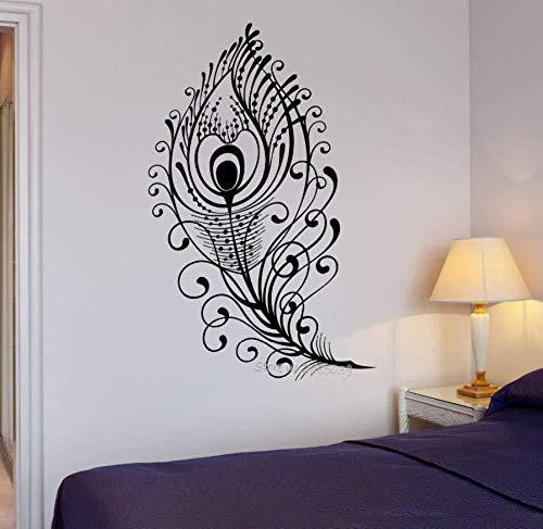Schöne Pfauenfeder Vogel Wandtattoo Vinyl abnehmbare Schlafzimmer Kunst Aufkleber Tapeten Wohnzimmer Wandbild 56 * 87cm