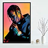 yiyiyaya Hot Travis Scott Rapper Music Star Fashion Astroworld Poster Prints Art Painting Canvas Wall Pictures For Living Room Home Decor 40x50cm