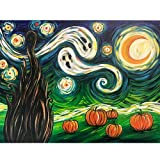 SKRYUIE 5D Full Drill Diamond Painting Halloween Starry Night Ghost Pumpkin by Number Kits, Paint with Diamonds Arts Embroidery DIY Craft Set Arts Decorations (16x20 inch)