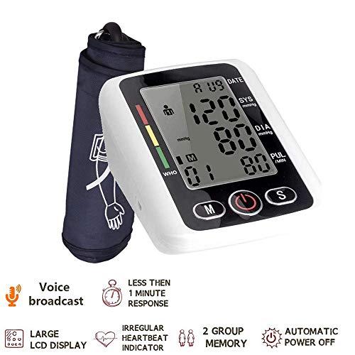 Misuratore di pressione sanguigna, PRCMISEMED Misurazione digitale automatica della parte superiore del braccio Pressione sanguigna e frequenza cardiaca con bracciale ad ampio raggio per uso domestico