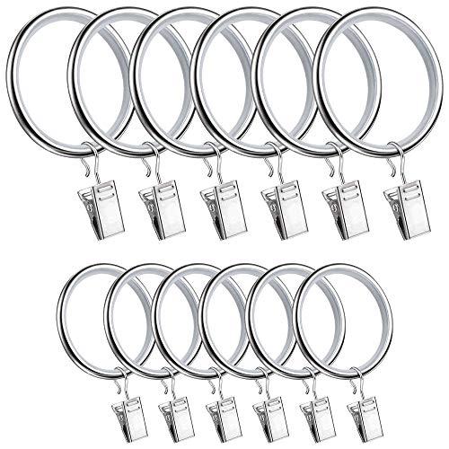 Blau XP 40 Pcs crtain Ring Schieberaster 34mm Arretierung und 28 mm Vorhang Ringe mit zuschneideklammer Clips für Fenster Badezimmer Dusche Ruten Stock Zum Aufhängen Silber