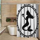N / A Mermaid Precision Duschvorhang Vintage grafische Illustration Einer gerahmten Prinzessin Mermaid mit Krone & Fisch Modern-B180xH200cm
