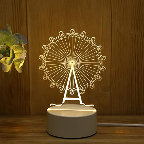 Continental casa habitación creativa cama dulce cómica en la noche de regalo de cumpleaños luz de la noche de luz LED,rueda de la fortuna,el párrafo Conectar la luz de tres colores