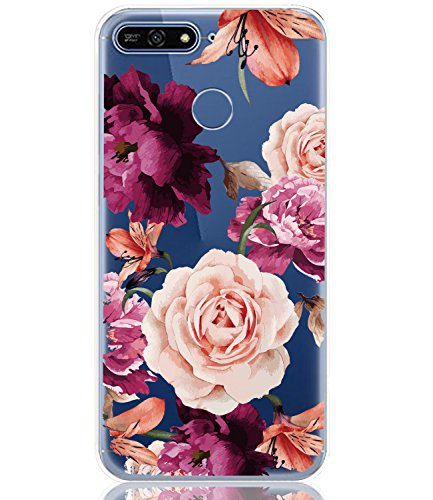 BAISRKE Huawei Y6 2018 Case, Honor 7A Case with Flowers Slim Shockproof Clear Floral Pattern Soft Flexible TPU Back Cove for Huawei Y6 2018 /Honor 7A/Y6 Prime 2018 [Purple Pink]