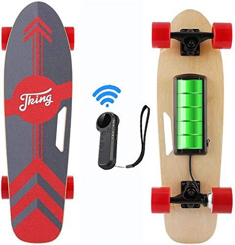 Caroma 70 cm Elektro Skateboard mit Drahtloser Bluetooth Fernbedienung für Erwachsene und Jugendliche, 20 km/h Höchstgeschwindigkeit, 350 W Motor (Rot)