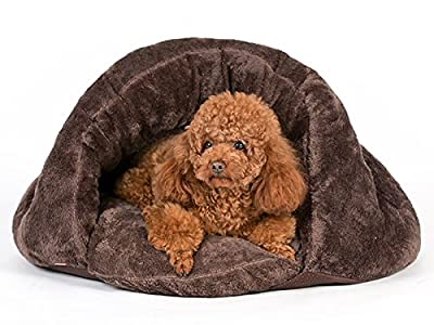 PLS Birdsong The Original Cuddle Pouch Pet Bed (Small), Dog Cave, Covered Hooded Pet Bed, Cosy, for Burrower Cats and Dogs, Brown