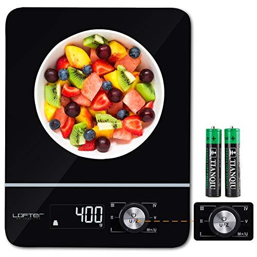 LOFTer Digitale Küchenwaage, Haushaltswaage mit Wiege- und Summenfunktionen, LED Display-wunderbare Präzision auf bis zu 1g(8kg Maximalgewicht), Gehärtete Glasoberfläche, Batterie Enthalten, Schwarz