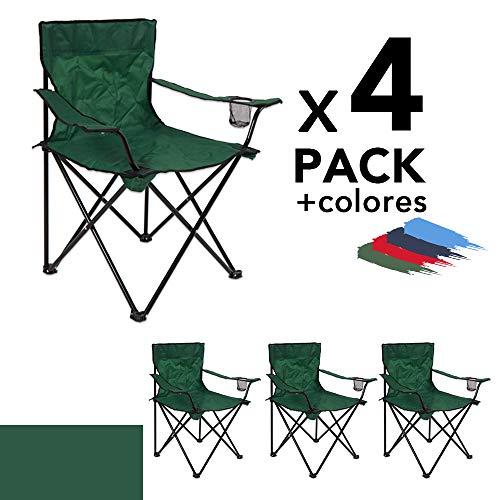 Arcoiris Silla de Camping, Silla de Acampada Plegable con 4 Unidades (Verdre 4pack)