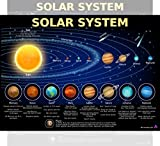 Solar System Poster for Kids - Laminated 14x19.5 - Educational Chart, Classroom Poster and Decoration, Back to School Supplies, Learning Poster for Preschool, Kindergarten, Elementary, and Virtual Learning, Space Decor for Bedroom