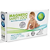 Invisible Magnetic Cabinet Locks Child Safety Kit, Secure Kitchen & Bedroom Cabinets. Cupboards with 16 Baby Proofing Cabinets Door & Drawer Locks for Kids & Toddlers. 2 Keys & 3M Adhesive Straps.