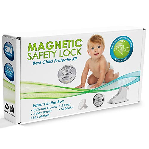 Invisible Magnetic Cabinet Locks Child Safety Kit, Secure Kitchen & Bedroom Cabinets. Cupboards with 16 Baby Proofing Cabinets Door & Drawer Locks for Kids & Toddlers. 3 Keys & 3M Adhesive Straps.