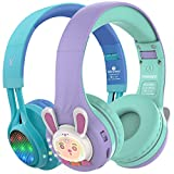 Riwbox WT-7S&RB-7S Kids Headphones Wireless, Bundle 2 Packs Foldable Stereo Bluetooth Headset with Mic and Volume Limited for PC/Laptop/Tablet/iPad (Blue&Purple)