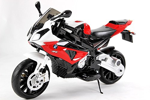 RIRICAR Moto Elettrica cavalcabile Giocattolo per Bambini BMW S 1000 RR a Batteria, autorizzata, Ruote Morbido Eva, Telaio Metallo, 2 Motori, Batteria 12V