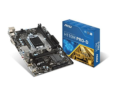MSI Mainboard H110M Pro-D LGA1151 max 32GB 2X DDR4 2X PCIe 1x PCIe x16 1x DVI 4X SATA3 4X USB2.0 2X USB3.1 mATX, Mehrfarbig