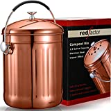 RED FACTOR Premium Compost Bin for Kitchen Worktop - Stainless Steel Food Waste Caddy with Innovative Dual Filter Technology - Includes 6 Replacement Filters (Copper, 5L)
