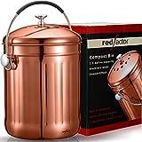 RED FACTOR Premium Cubo Reciclaje de Cocina Inodoro de Acero Inoxidable para Encimeras - Cubo Basura Reciclaje de Cobre de 5 litros (Incluye 3 Filtros de Carbón Activo de Repuesto)