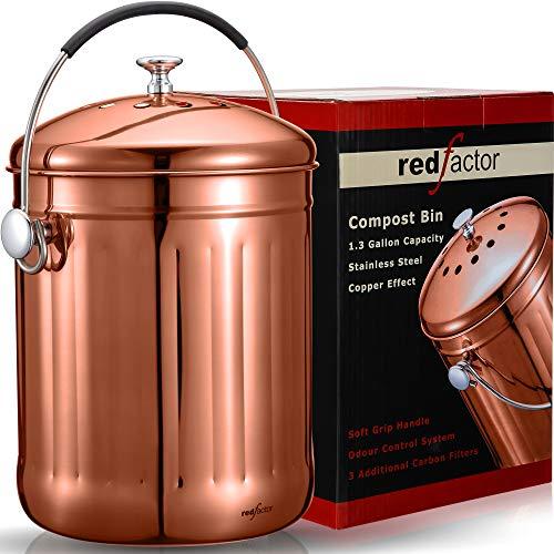 RED FACTOR Premium Kompostbehälter Küche Aus Edelstahl Geruchlos - Bio Mülleimer - Inklusive 6 Kostenlosen Aktivkohlefiltern (Poliertes Kupfer, 5 Liter)