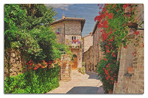 Lantern Press Flower Filled Medieval Street in The Beautiful Old Town of Assisi, Italy 9017787 (10x15 Wood Wall Sign, Wall Decor Ready to Hang)