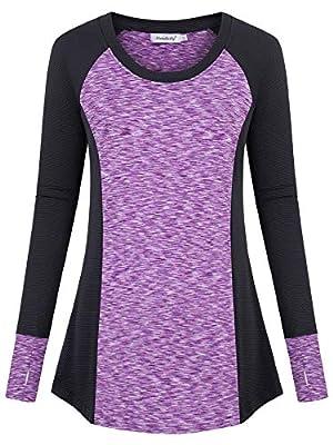Ninedaily Women's Long Sleeve Workout Shirt Winter Fitness Activewear Casual Top,Purple,M
