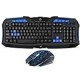 F1 Wireless Keyboard Mouse Combo, 2.4GHz Full Size Waterproof Wireless Keyboard...
