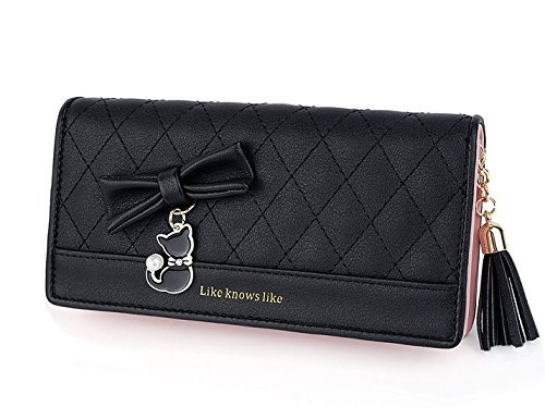 DNFC Geldbörse Damen Portemonnaie Lang Portmonee mit Reißverschluss und Druckknopf Elegant Clutch Handtasche Geldbeutel Katze Geldtasche für Frauen und Mädchen (Schwarz)