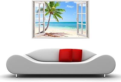 Paper Plane Design '3D Depth Illusion Ocean Beach Seascape Palm Tree View' Wall Stickers (Vinyl, 135 cm x 90 cm x 0.2 cm)