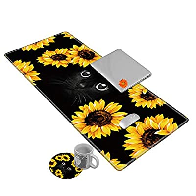 Desk Mat Gaming Mouse pad for Laptop,Black Cat and Sunflower Customized Design Printed Desk pad, Home Office Accessories, with Sunflower Coasters and Cute Stickers