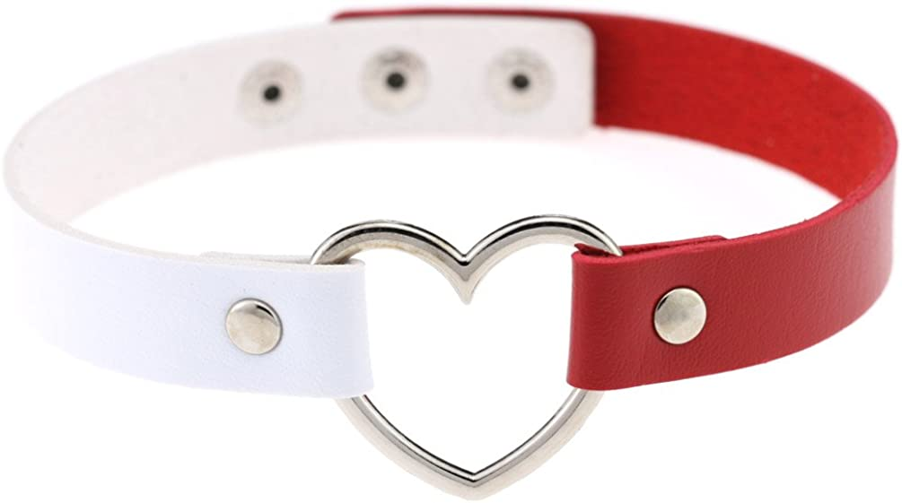 Harajuku Woman Girl Fashion PU Leather Collar Punk Gothic Heart-Shaped Short Collar Necklace Clavicle Chain (White+Red)