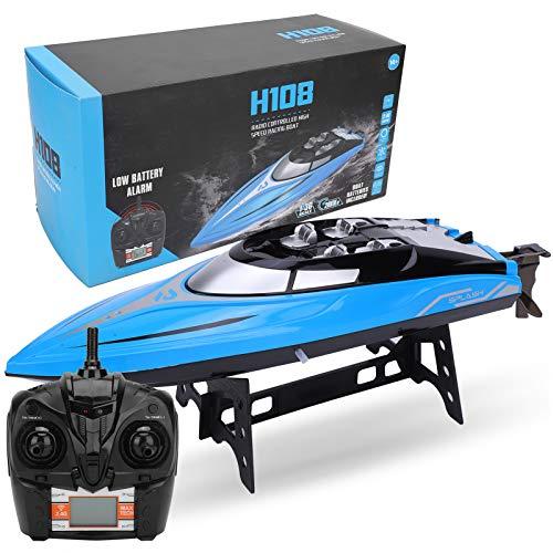 Barco de control remoto inalámbrico, modelo de barco de velocidad de avigación modelo de barco RC H108 2.4G 4CH altamente simulación RC niños barco modelo para niños y adultos.