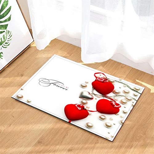 N-brand Alfombra de Puerta Alfombra Interior.Ducha Alfombras de Entrada de baño Alfombras Felpudo,Puerta de Entrada.Entradas de Piso, 40 x 60 cm.Amor Rojo. Perla.