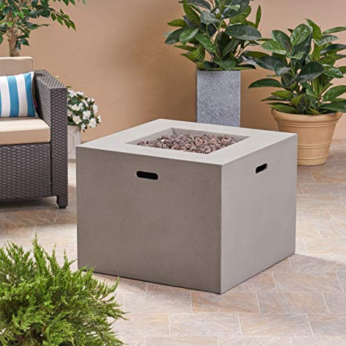 Great Deal Furniture Leo Outdoor 31' Square Light Weight Concrete Gas Burning Fire Pit, Light Gray