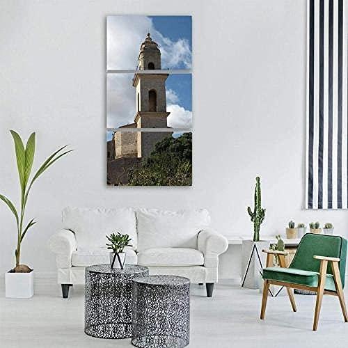 WERSD Wandbild 3 Teilig Leinwandbilder Kirche Majorca, Spanien Moderne Wandbilder XXL Wohnzimmer Wohnkultur3 Teilige Leinwandbilder XXL Wanddeko Geschenk
