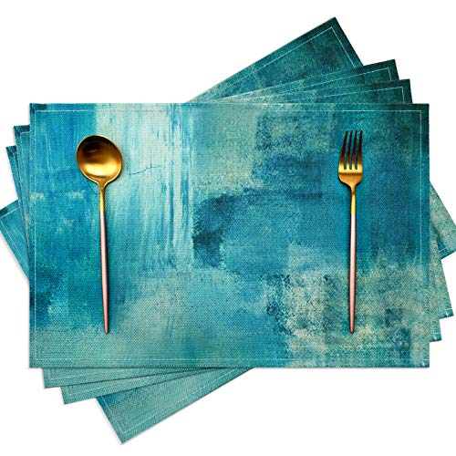 Modern Art Placemats Cafe Placemats Turquoise and Grey Abstract Art Painting Artwork Fabric and Linen Dining Placemats Colorful Placemats for Home Kitchen Decorations 18 x 12 Inches, Turquoise Grey