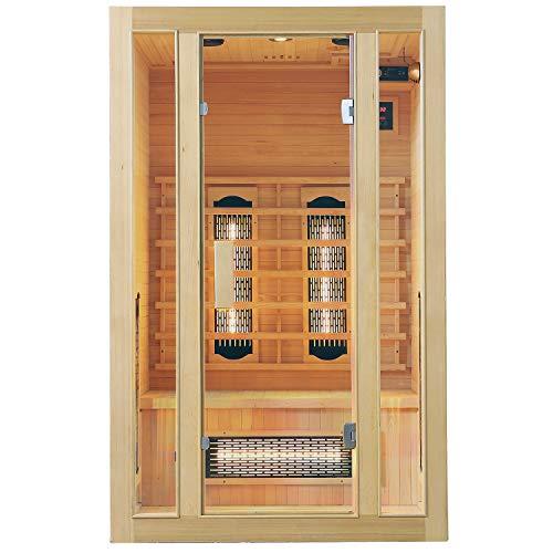 Cabina de infrarrojos Artsauna Nyborg S120V de espectro completo y iluminación ambiente LED - sauna de infrarrojos para 2 personas - 120 × 105 cm - cabina de sauna