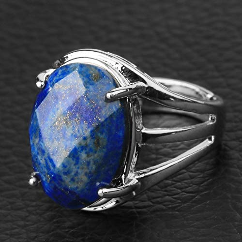adjustable ring for women,Silver hollow inlaid oval section Natural Lapis Lazuli Stone Reiki charm Adjustable Open Knuckle Tail Ring Finger Joint Toe Ring Jewelry for Women Girls Gift Wedding engage