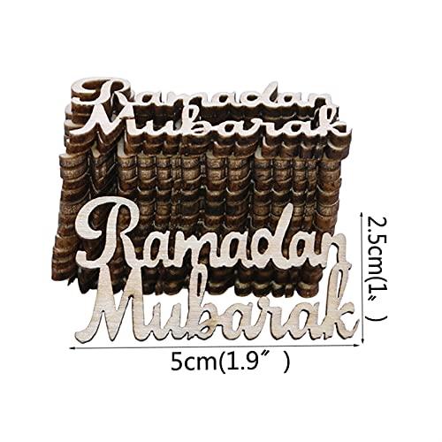 Rodajas de madera 30 unids Ornamento de madera Ornamento Ramadán Rebanadas de madera para el Festival Musulmán del Festival del Festival de la Decoración de la Decoración de la...