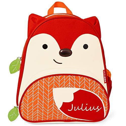Skip Hop Kinderrucksack mit Namen | Motiv Fuchs in rot & orange | für Jungen & für Mädchen | Kindergarten-Rucksack mit Tieren | inkl. Namensdruck