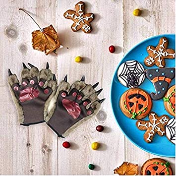 YLucky 3D Animal Claw Paw Gloves Cosplay Bear Dinosaur Mitts Thermal Hand Warmer Winter Finger Gloves Werewolf Hand Gloves for Halloween Costume Props Christmas Birthday Gift Unisex