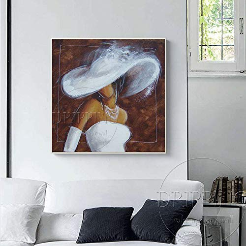 WSNDGWS Artiest Handgeschilderde Moderne Dame met Witte Hoed en Witte Jurk Olieverfschilderij op Canvas Dame Figuur Olieverfschilderij