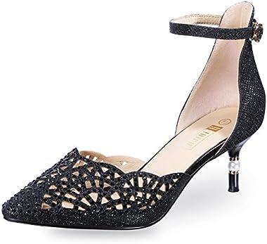 IDIFU Women's IN2 Candice Wedding Rhinestones Sequins Low Kitten Heels Pumps Dress Evening Shoes for Women Bridal Bride