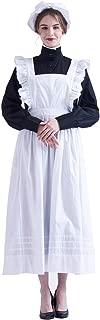 Women Pilgrim Dress Victorian Maid Costume with Apron 100% Cotton
