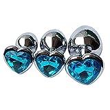 Kits de Entrenador de Acero Inoxidable de 3 Piezas, Juego de iniciación para Principiantes, Conjunto de Ànâles-Plúg, joyería, corazón, Cristal, Àmàl B-ütt para Mujeres, Juego Azul