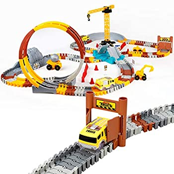 226pcs Construction Themed Race Tracks Set Flexible Trains Tracks With 2 Race Trucks Toy Cars Set for 3 4 5 6 7 Years Old Child Kids Boys and Girls Road Race Playset for Christmas Birthday Gift