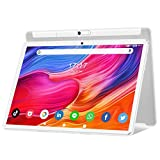 Tablet 10 Zoll Android 10.0, 5G WiFi Google Tablet Pad, 32GB ROM erweiterbar bis zu 128GB, Octa-Core-Prozessor, 13MP & 5MP Kamera, 1920 x 1200 IPS FHD-Display, GPS WiFi Buletooth OTG Silver&Weiss